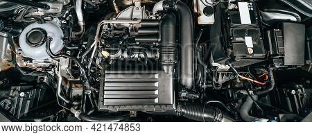Top View Of Turbocharged Eco-friendly Engine Or Motor, Automotive Long Banner Background, Car Under