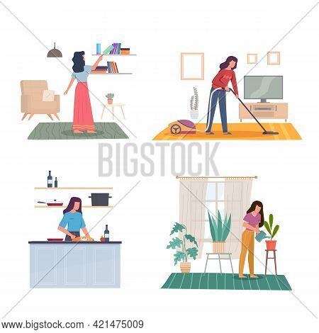 Domestic Women Affairs. Young Adult Girl Cleans House, Wipes Dust, Vacuums Carpet, Prepares Food And