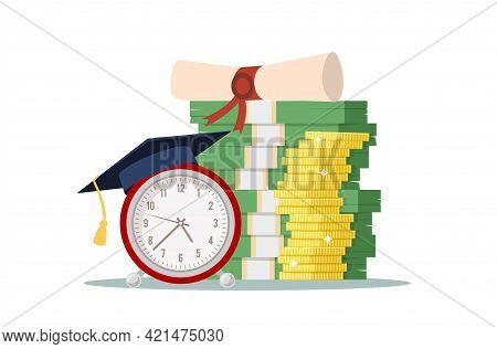 Knowledge Investing. Retro Alarm In Graduation Hat, Pile Of Dollar And Golden Coins, Investment In E