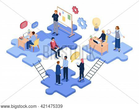 Isometric Teamwork. Business People Group Solve Problems Together, Office Employees, Joint Project,