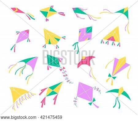 Flying Kites. Different Shapes Colors Air Toys, Basant Panchami Indian Harvest Festival Decor, Kids