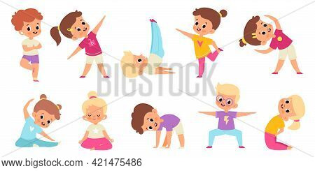 Kids Yoga. Childish Gymnastic Poses, Stretch And Balance, Children Sport Activity Collection, Happy