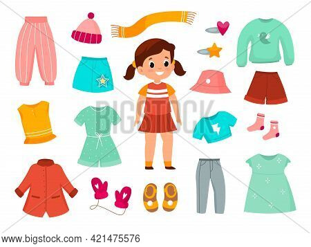 Girl Clothes. Childish Female Fashionable Apparel Collection, Different Type Of Casual Wear, Color K