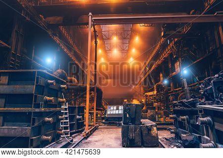 Heavy Industry, Industrial Metallurgical Plant Workshop Interior, Steelmaking Manufacturing.