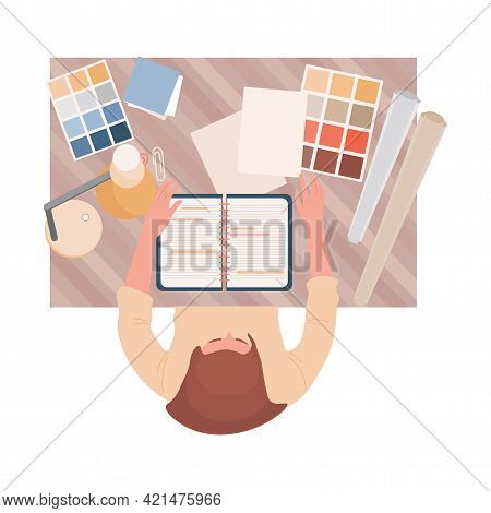 Interior Or Graphic Designer At Work Vector Flat Top View Illustration. Female Character Working Wit