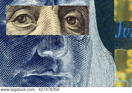 Franklin's Face Close Up With A Stripe Of Censorship On His Eyes On A 100 Dollar Bill. Unusual Dark
