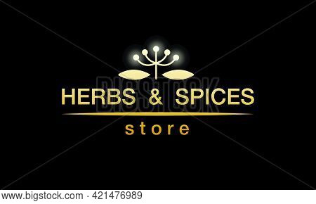 Vector Illustration Of Herbs And Spices Store Logo With Changeable Text For Corporate Style, Banner,