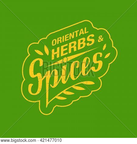 Vector Illustration Of Oriental Herbs And Spices Yellow Lettering With Texture On Green Background F