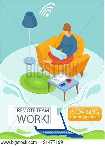 Remote Team Work, Online Meeting Workspace. Businesswoman, Freelan Er Works From Home With Computer.