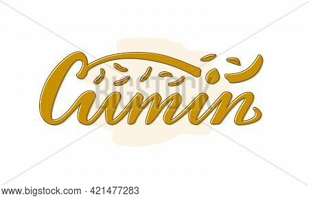 Vector Illustration Of Cumin Lettering For Packages, Product Design, Banners, Stickers, Spice Shop P