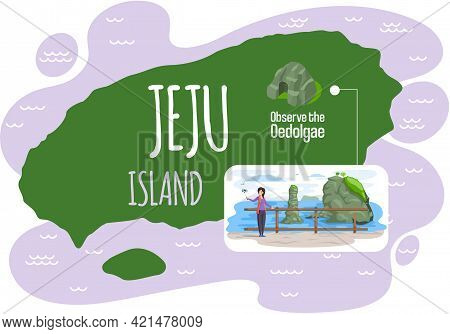 Welcome To Jeju Island In South Korea, Traditional Showplaces Map For Tourists, Natural Attraction V