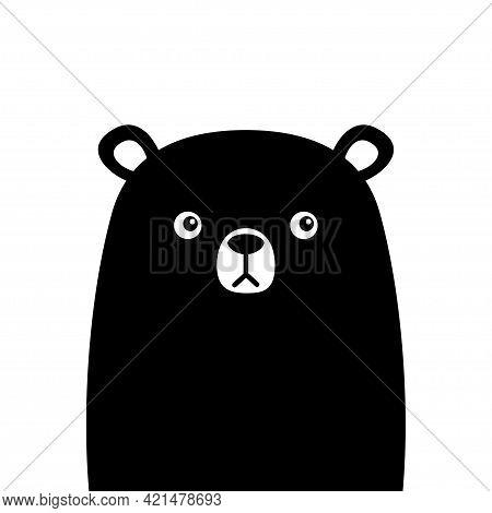 Cute Bear. Black Silhouette. Funny Head Face. Kawaii Cartoon Character. Happy Valentines Day. Baby G