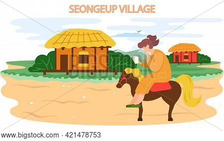 Seongeup Village Famous Landmark Of Jeju Island In South Korea. Thatched House Traditional Hut Stone