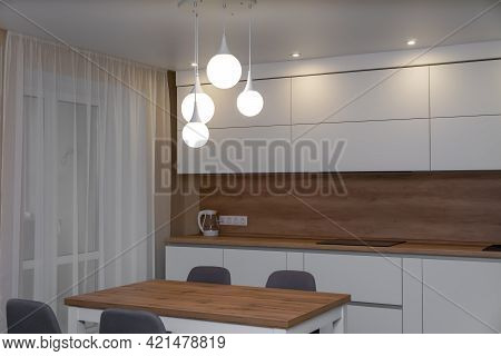 Beautiful Modern Minimalistic Interior Of A Bright Kitchen
