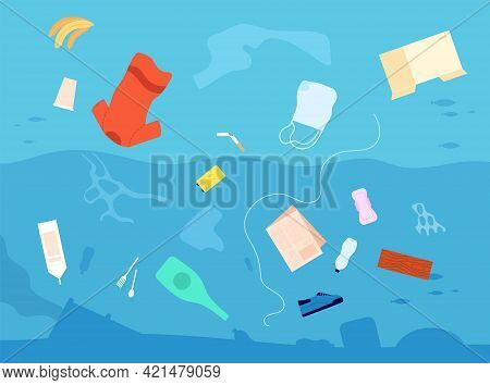 Garbage In Water. Dirty Waste Sea, Plastic Bag Bottle Trash Floating In Sea. Stop Polluted Environme