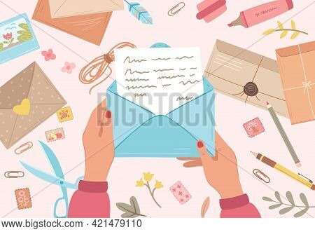 Hands Holding Envelope. Prepare Future Letters, Postal Papers. Self Writing Messaging, Write Postcar