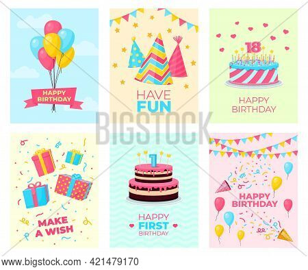 Birthday Party Cards Template. Card Design, Fun Celebrate Party Poster. Invitation With Decorations,