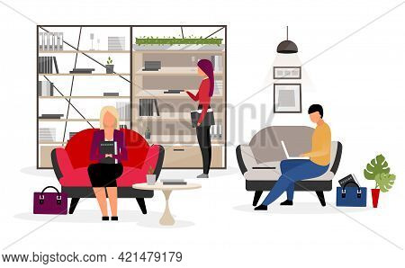 Jobseekers Waiting For Interview Flat Illustration. Male, Female Candidates, Applicants Preparing Fo