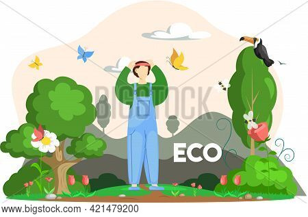 Man Standing Near Various Flora And Fauna. Cartoon Earth Habitats, Birds, Plants And Insects. Biodiv