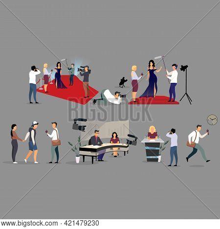 Journalist Interviewing Flat Illustration Set. Correspondents, Photographers Cartoon Characters. Rep