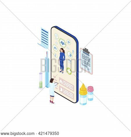 Futuristic Ehealth System Isometric Illustration. Cartoon Doctor, Physician Studying Patient Health