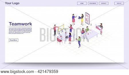 Teamwork Webpage Vector Template With Isometric Illustration. Coworking. Project Management. Busines