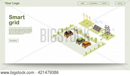 Electric Vehicle Charge Station Webpage Vector Template With Isometric Illustration. Smart Grid. Sol