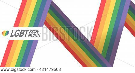 Happy Pride Month Horizontal Banner With Pride Color Striped Ribbon Flag Isolated On White Backgroun