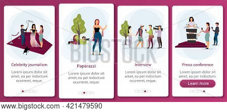Journalism And Mass Media Onboarding Mobile App Screen Template. News Broadcasting, Reportage, Inter