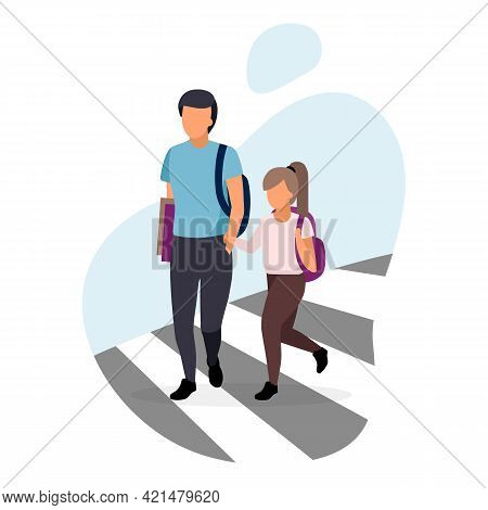 Schoolchildren Crossing The Road Flat Vector Illustration. Older Brother With Younger Sister Holding