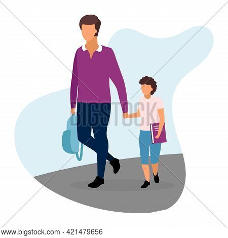 Father With Son Flat Illustration. Older And Younger Brothers Going Home And Holding Hands Cartoon C