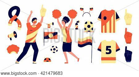 Fans Accessories. Isolated Flags, Soccer Fan Tools. Sport Hat, Cheering Boy Support Match. Cheerlead