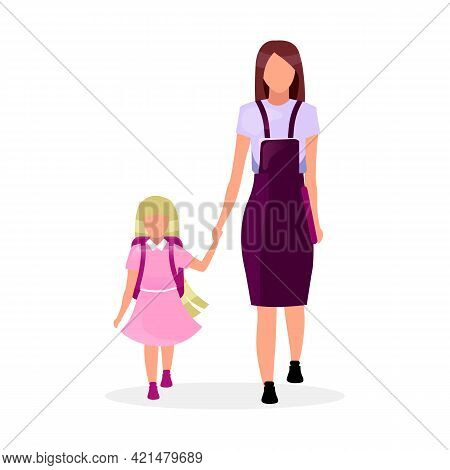 Mother With Daughter Going To School Flat Vector Illustration. Older And Younger Sisters Holding Han