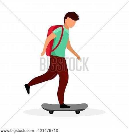 Schoolboy Skateboarding Flat Vector Illustration. Skateboarder, Skater. Teenage Boy With Backpack Ri