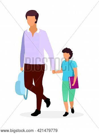 Father With Son Flat Vector Illustration. Older And Younger Brothers Walking And Holding Hands Carto
