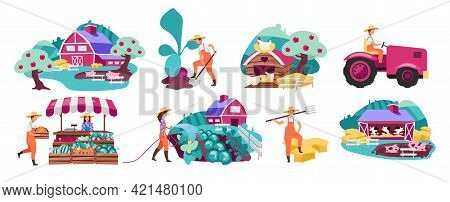 Farm Flat Vector Illustrations Set. Horticulture And Vegetable Gardening. Farmers Market Produce Con