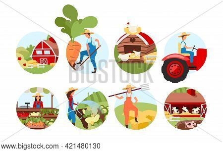Farming Flat Concept Icons Set. Livestock And Cattle Farm. Agriculture Stickers, Cliparts Pack. Farm