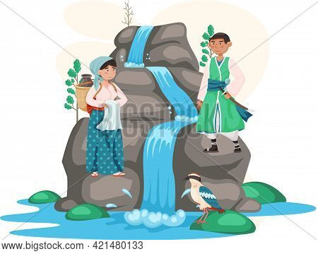 Save Waterfalls, Rock And Falling Water, Tropical River And Waterfall. Asian Man And Woman Dressed I