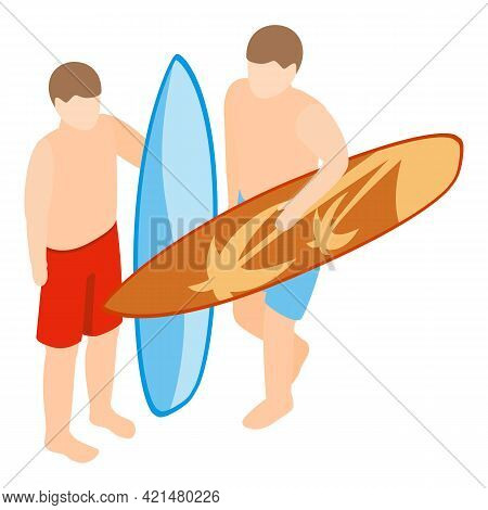 Surfer Icon. Isometric Illustration Of Surfer Vector Icon For Web