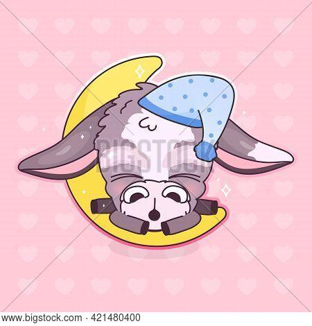 Cute Sleeping Donkey Kawaii Cartoon Vector Character. Adorable And Funny Sleeping Animal In Night Ca