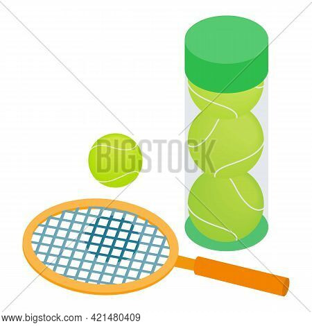 Tennis Inventory Icon. Isometric Illustration Of Tennis Inventory Vector Icon For Web