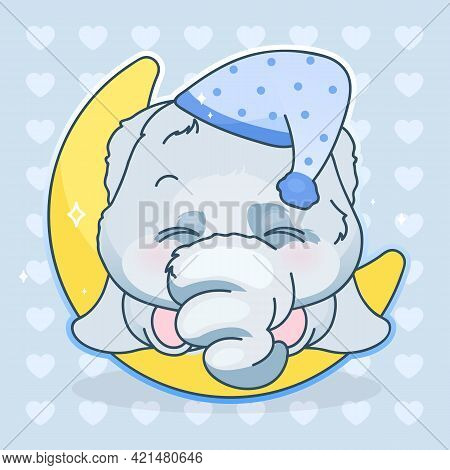 Cute Elephant Kawaii Cartoon Vector Character. Adorable And Funny Animal Sleeping On Moon Isolated S