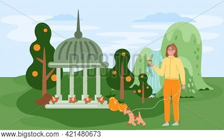 Female Character Walking With Dog In Beautiful Green Park Travel Concept And Adventure Tourism. Woma