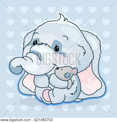 Cute Elephant Kawaii Cartoon Vector Character. Adorable And Funny Animal Hugging Plush Soft Toy Isol
