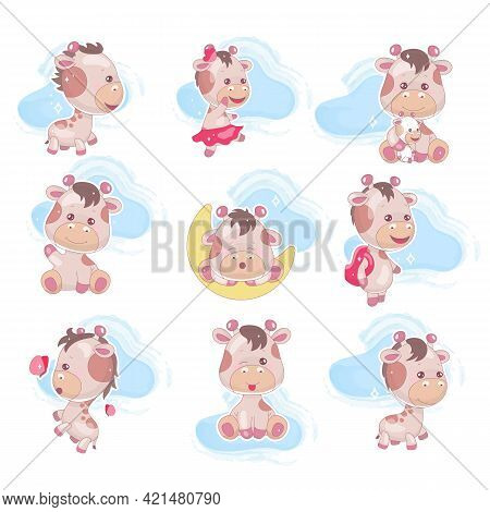 Cute Giraffe Kawaii Cartoon Vector Characters Set. Adorable And Funny Animal With Clouds Isolated St