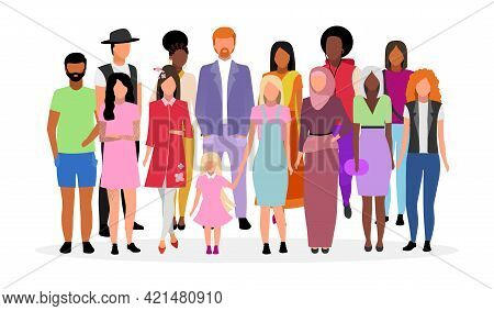 Multicultural People Group Flat Vector Illustration. Different Nationalities, Races Women And Men Ca