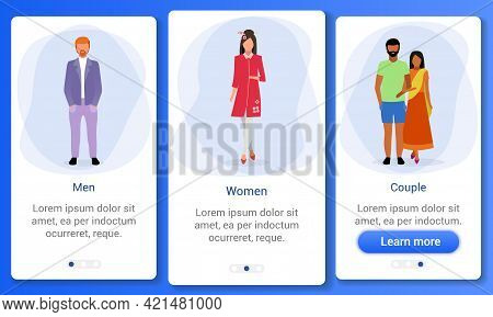Adult Population Onboarding Mobile App Screen Template. Gender Ratio. Indian, Irish, Japanese Multin