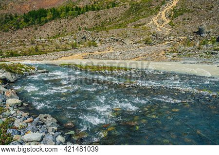 Multicolor Mountain Landscape With Confluence Of Three Rivers. Sunny Vivid Scenery With Three Rivers