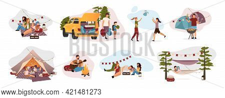 Summer Camp Visitors Flat Vector Illustrations Set. Holidaymakers Isolated Cartoon Characters. Trave
