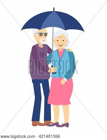 Cute Senior Husband And Wife Under An Umbrella On White. Happy Elderly Couple Walk Under A Common Um